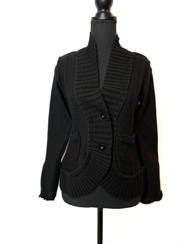 WHBM Black Wool  Two Button Cardigan