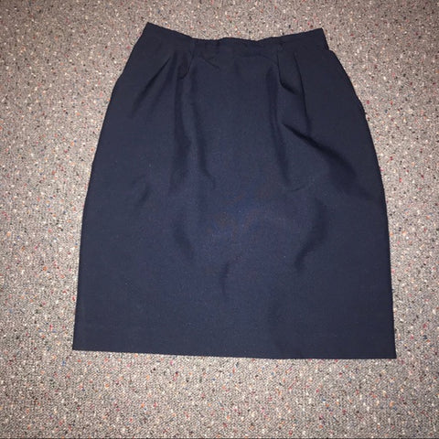 Vintage Liz Baker Petite Navy blue pencil skirt