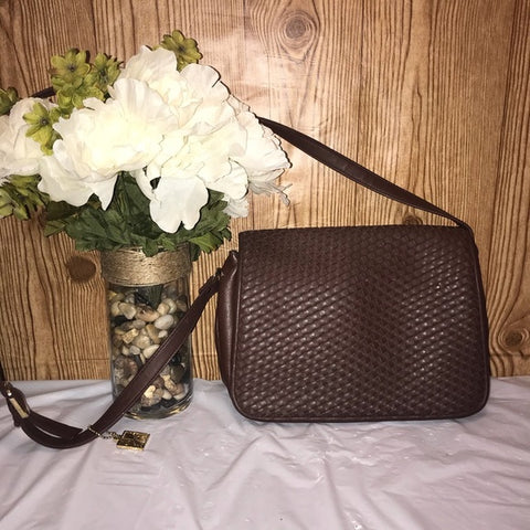 Vintage Woven Leather Flap, Adjuststraps Crossbody Bag