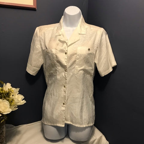 Impression Vintage Short Sleeve Button Down Blouse