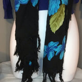 Floral Print  Black and Blue Square Scarf
