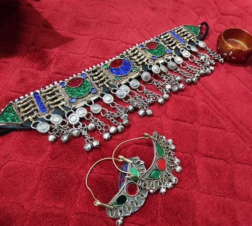 Afghan Vintage Necklace And Earring Set