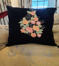 Load image into Gallery viewer, Handmade Navy Blue Velvet Cushion Cover Pakistani Handicrafts