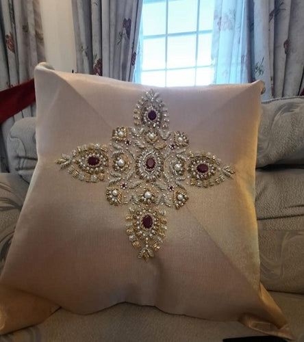 Handmade Embroidered Golden Cushion Cover Pakistani Handicrafts