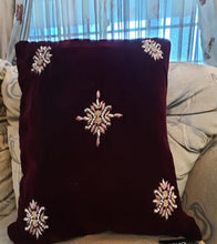 Load image into Gallery viewer, Handmade Maroon Embroidered Velvet Cushion Cover Handmade Craft