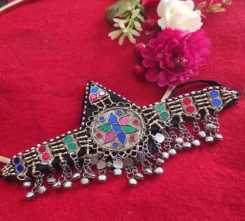 Afghan Head Piece Traditional Handmade Multicolor Mathapatti