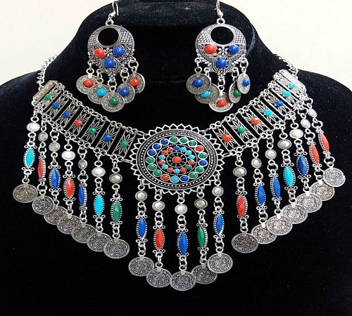 Multi Beads Necklace Set With Ear Ring