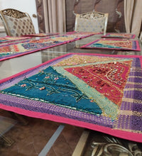 Load image into Gallery viewer, Sindhi Hand Embroidery Runner Set And Place Mat Set