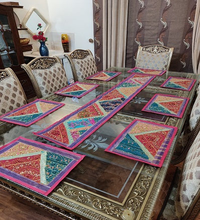 Sindhi Hand Embroidery Runner Set And Place Mat Set