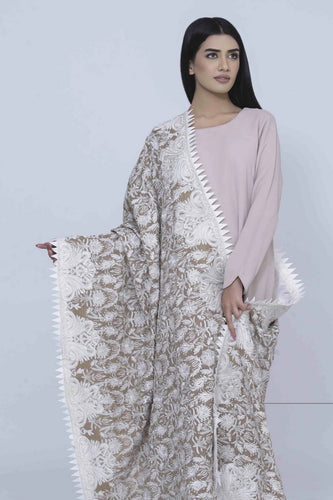 Beige Pashmina Shawl With White Embroidery