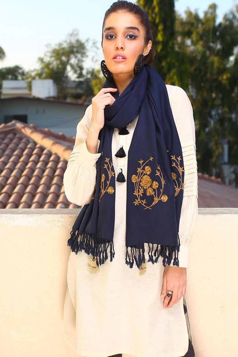 Traditional Embroidered Blue Pashmina Stole
