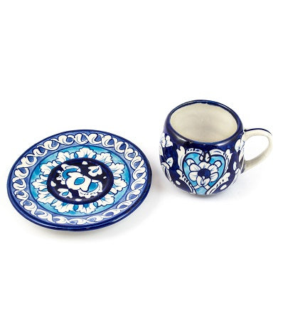 Blue Pottery Handmade Traditional Cup With Saucer Pakistani Handicrafts