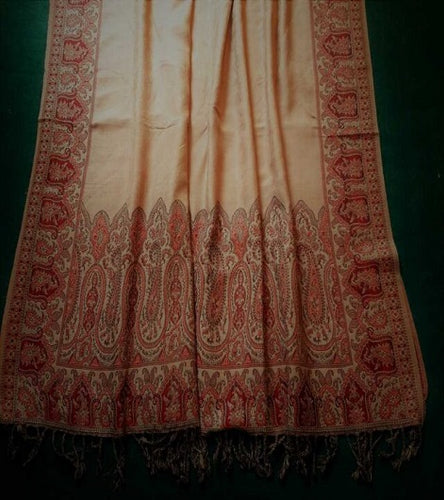 Winter Beige Handmade Traditional Ladies Shawl