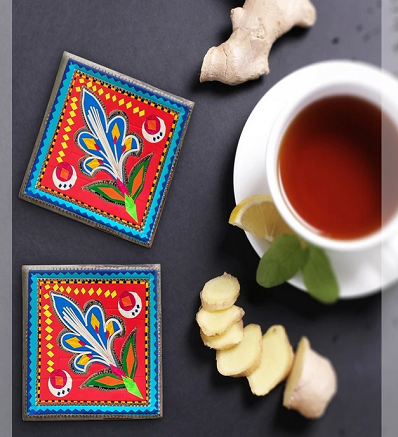 Handcrafted Traditional Pack of 6 Truck Art Inspired Abstract Artistic Coaster Set Pakistani Handicrafts