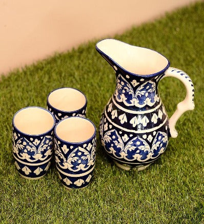 Handmade Traditional Blue Pottery Water Set With 6 Glasses Pakistani Handicrafts