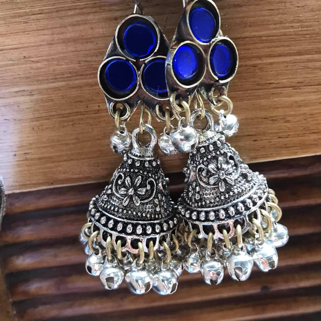 Afghan Glass Stone Jhumka Earrings