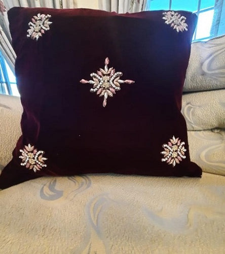 Handmade Maroon Embroidered Velvet Cushion Cover Handmade Craft