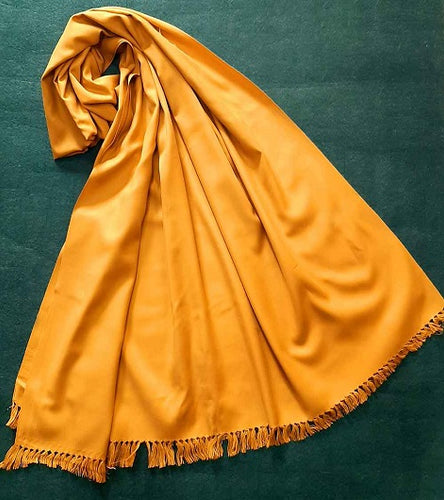 Plain Mustard Handmade Traditional Ladies Shawl Warm Winter Women Plain Shawl