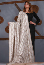 Load image into Gallery viewer, Traditional White Embroidered Pashmina Shawl
