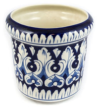 Load image into Gallery viewer, Handmade Blue Pottery Planter Round Shape