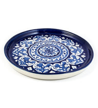Load image into Gallery viewer, Handmade Traditional Pizza Dish Round Small Blue Pottery Pakistani Handicrafts