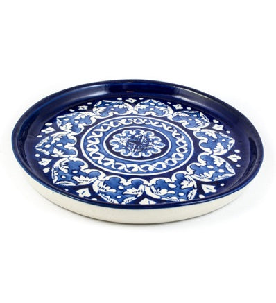 Handmade Traditional Pizza Dish Round Small Blue Pottery Pakistani Handicrafts