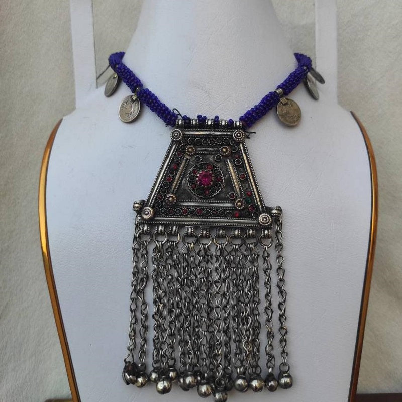 Afghani Metal Necklace With Beaded Strip