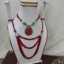 Load image into Gallery viewer, Tribal Stone Pendant With Beaded Mala Necklace