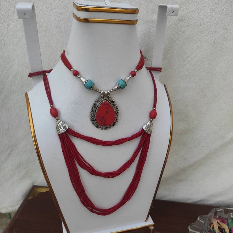 Tribal Stone Pendant With Beaded Mala Necklace