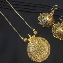 Load image into Gallery viewer, Tribal Kuchi Gold Tone Necklace, Earrings And Cuff Bracelet