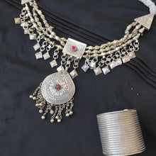 Load image into Gallery viewer, Afghan Necklace and Cuff Bracelet Set