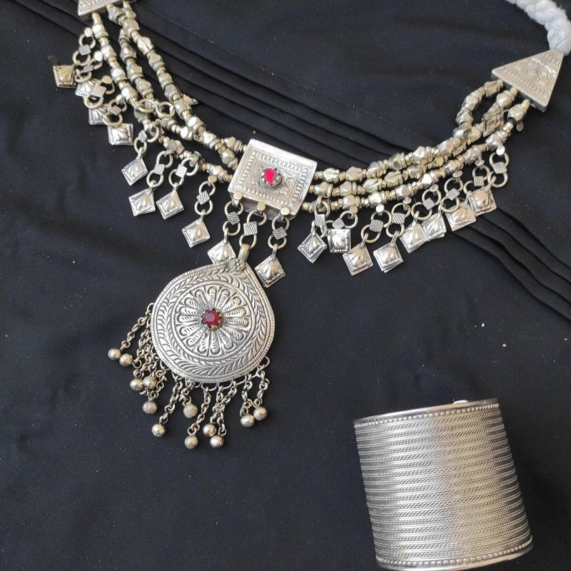 Afghan Necklace and Cuff Bracelet Set