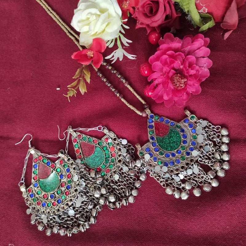 Tribal Kuchi Necklace And Afghan Earring Set
