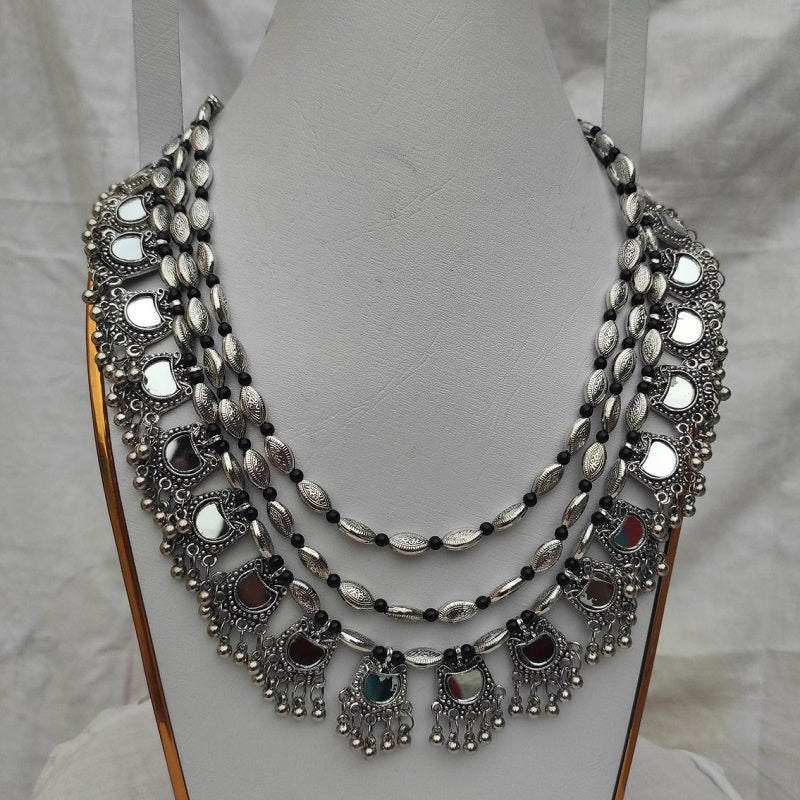 Tribal Silver Multi Layers Necklace