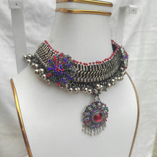 Load image into Gallery viewer, Silver Kuchi Bells And Multicolor Glass Stones Choker Necklace