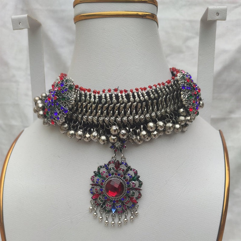 Silver Kuchi Bells And Multicolor Glass Stones Choker Necklace
