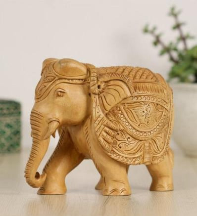 Handcrafted Rajasthani Wooden Art Elephant Wooden Handicrafts