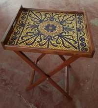 Load image into Gallery viewer, Handmade Bloom Folding Table Tray Pakistani Handicrafts