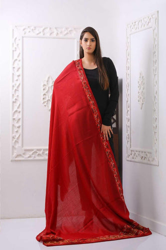 Traditional Embroidered Red Pashmina Shawl