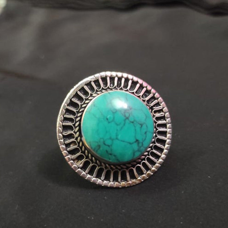 Afghan Kuchi Ring with Turquoise Stone