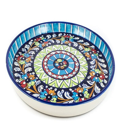 Handmade Pizza Dish Round Large Blue Pottery