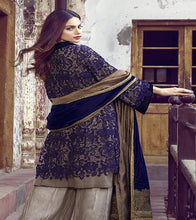 Load image into Gallery viewer, Indigo Blue Warm Velvet Ladies Traditional Shawl