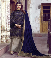 Load image into Gallery viewer, Indigo Blue Velvet Ladies Blue Traditional Shawl Embroidered Warm Women Shawl.