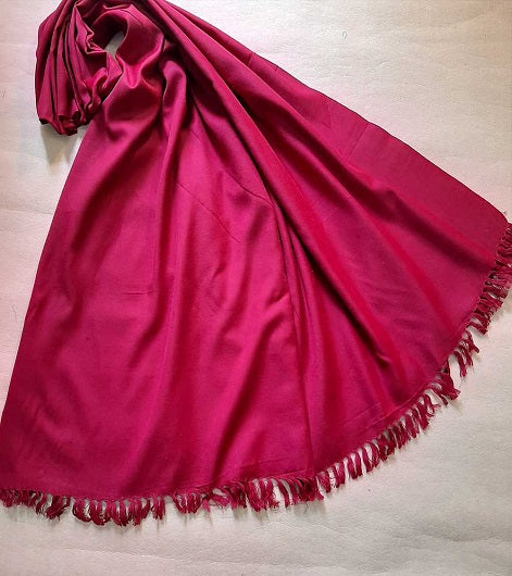 Plain Maroon Handmade Traditional Ladies Shawl