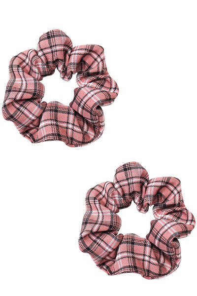 Pink Plaid Scrunchie