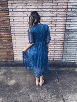 Blue Lace Dress  V-neck