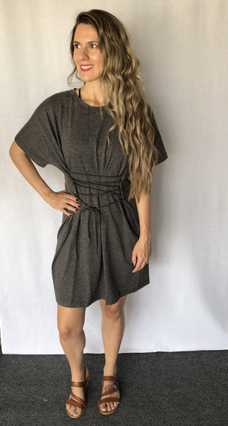 Charcoal Front Lace-up Front Dress