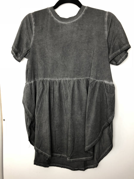 BLACK Oil Washed Cotton Tunic top