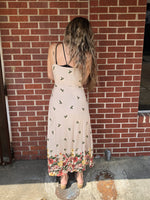 Sleeveless Taupe Dress w flowers