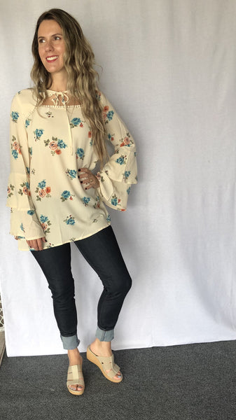 Double Bell Sleeve Floral Shirt